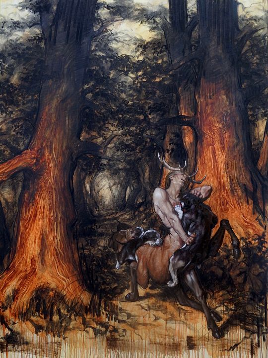 Cernunnos-hunted-by-dogs-in-the-old-Celtic-forests-200-by-150-cm-Olieverf-acryl-houtskool-op-doek-17000-1560509034.jpg